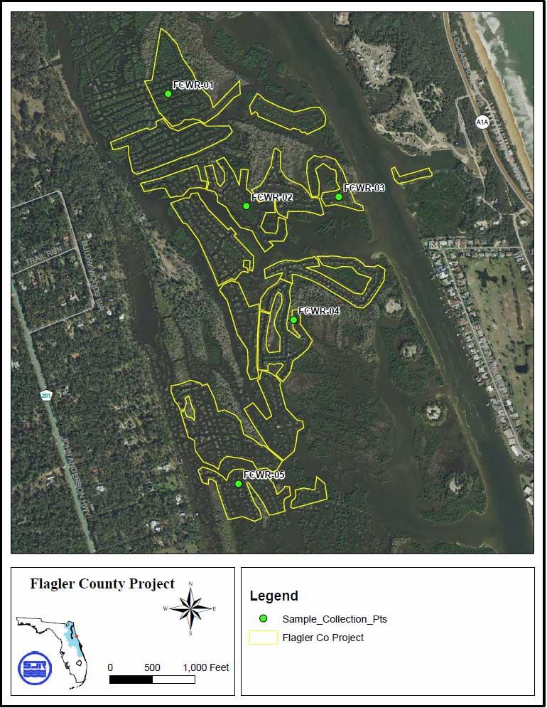 Flagler County wetland restoration project DDT soil sample sites